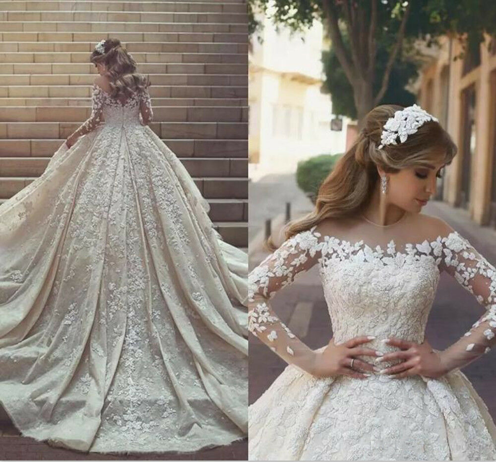 b920c5adcc2 Details about Gorgeous Lace Appliques Puffy Wedding Dress White Ivory Long  Sleeve Bridal Gown