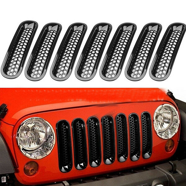 Details About 7pcs Grilles Insert Angry Bird Headlight Bezels For 07 16 Jeep Wrangler Durable