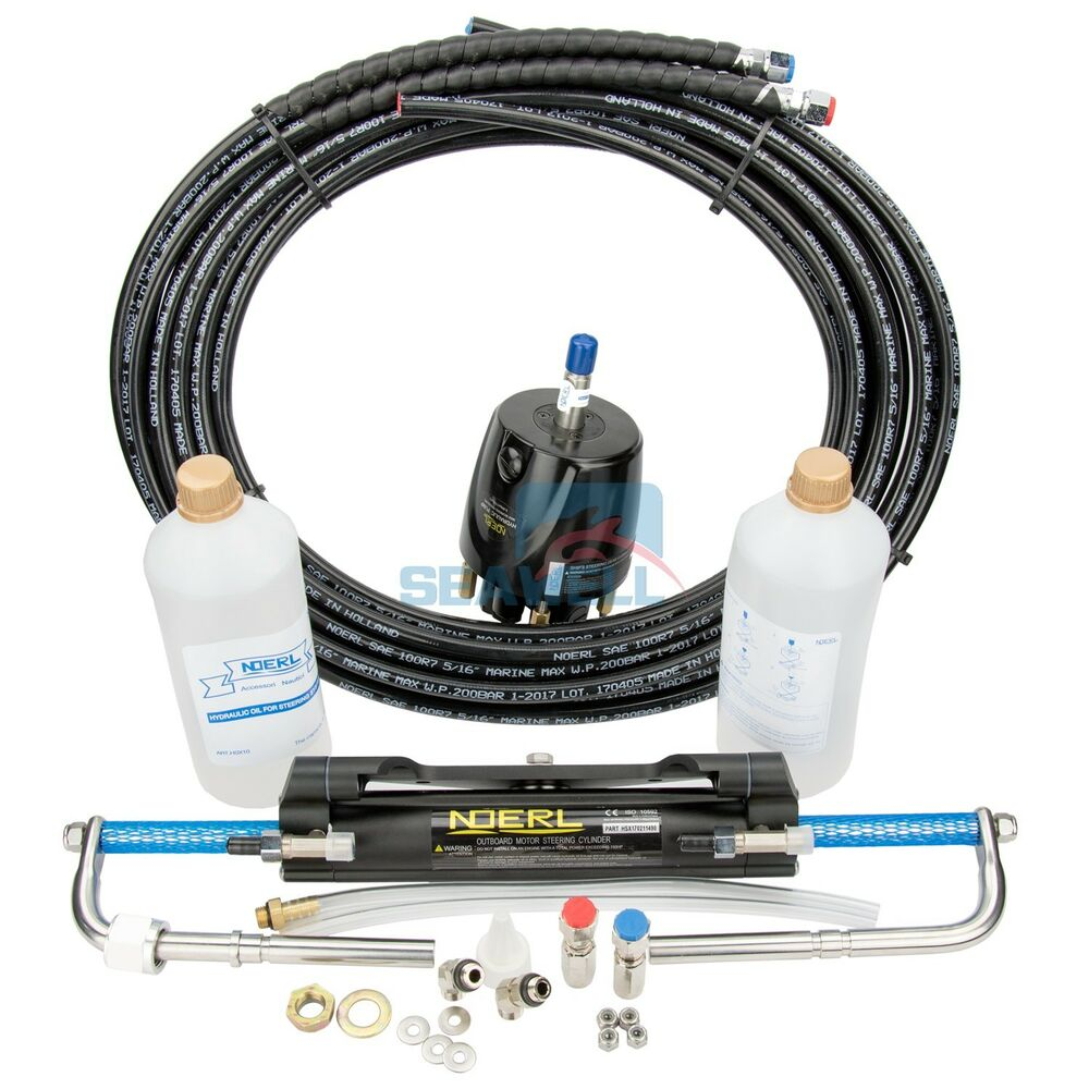 Hydraulic Steering Systems : Boat marine hydraulic outboard steering system kit