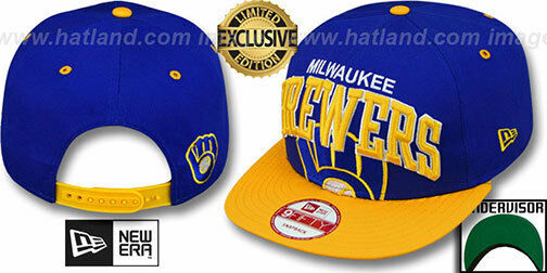 7782c85edf676 Brewers COOP  SUPER-LOGO ARCH SNAPBACK  Royal-Gold Hats by New Era ...