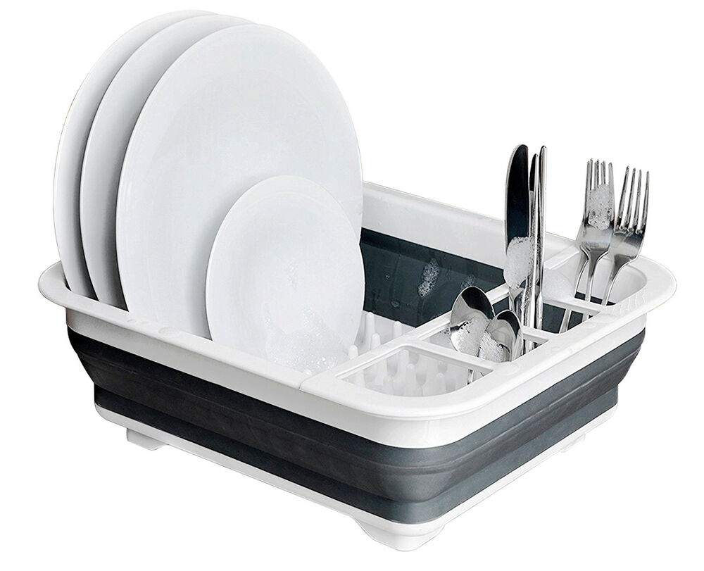 Collapsible Pop Up Dish Drainer Washing Pots Cutlery