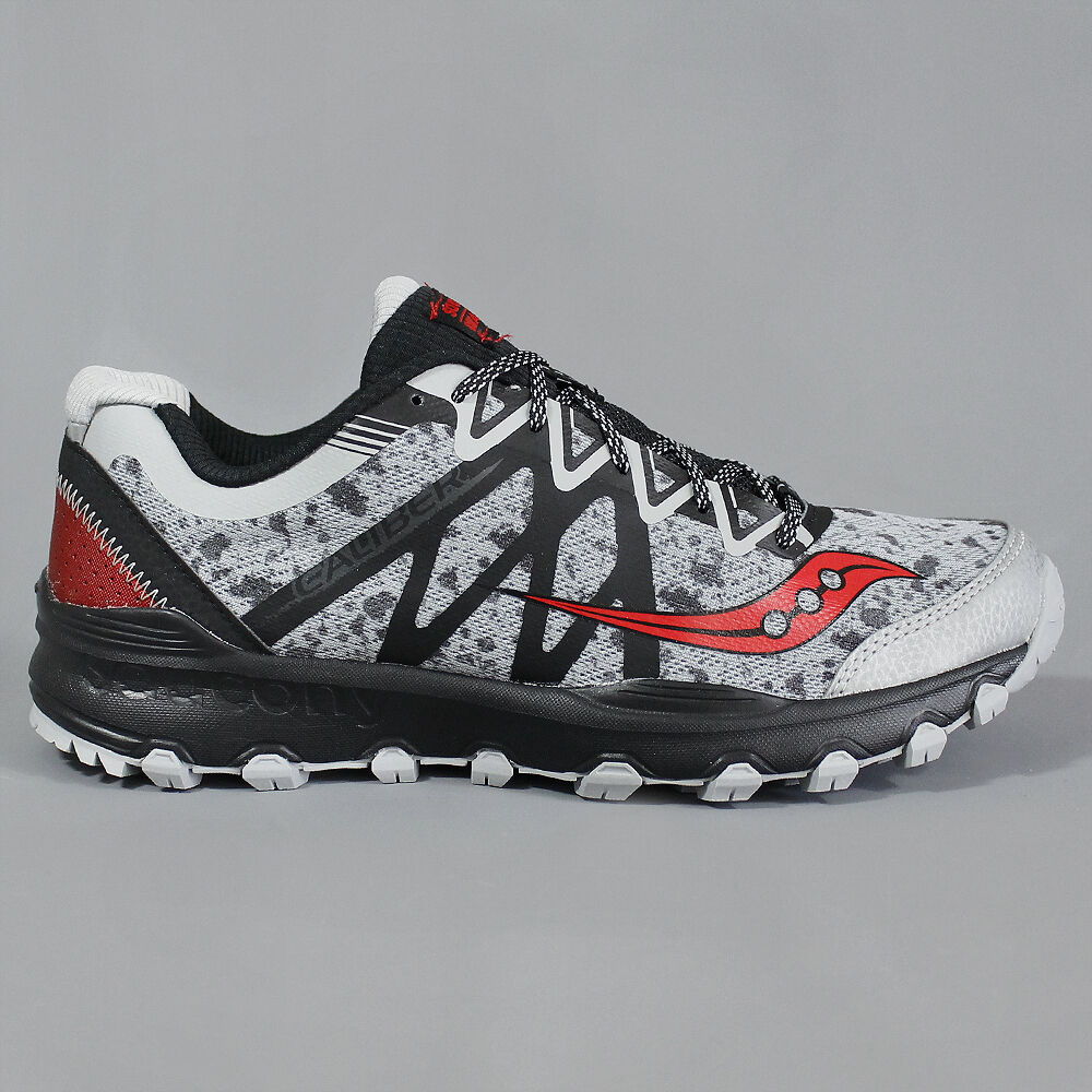aaf6a66ed0a2 Details about Saucony Grid Caliber Trail Shoes Grey   Black   Red