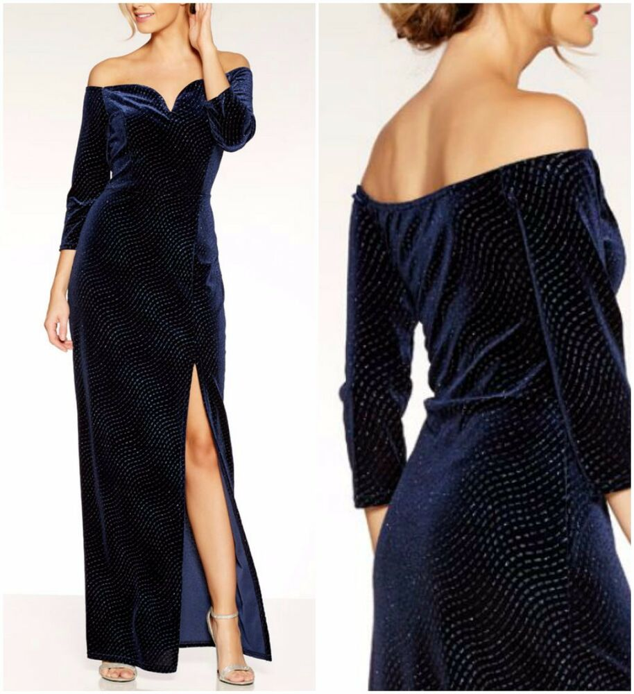 8cf4a2ac ex Quiz Navy Velvet Glitter Bardot Side Split Maxi Evening Occasion Dress |  eBay