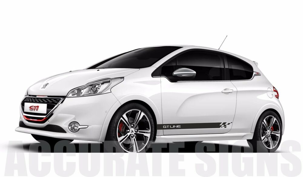 peugeot 208 gt line graphics set stickers stripes car decals gti xsi any colour ebay. Black Bedroom Furniture Sets. Home Design Ideas