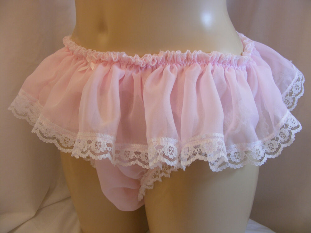 Sissy Sheer Chiffon Frilly Lace Panties Mens Lingerie -8511