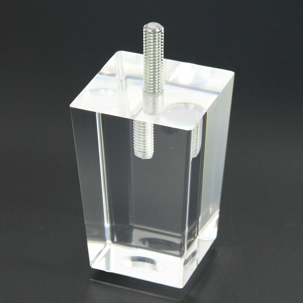 Details about 4x clear furniture legs replacement diy acrylic sofa feet pedatal legs pyramid