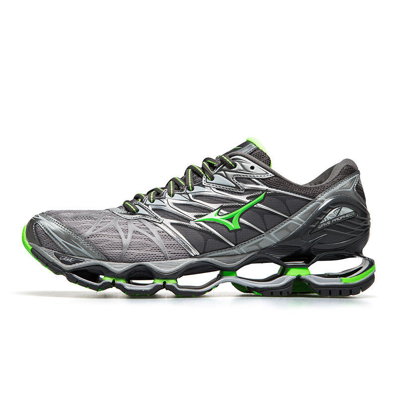 lowest price 46eb0 4c170 Details about Mizuno Wave Prophecy 7 Gray Silver Green Men Running Shoes  New J1GC180037 17D