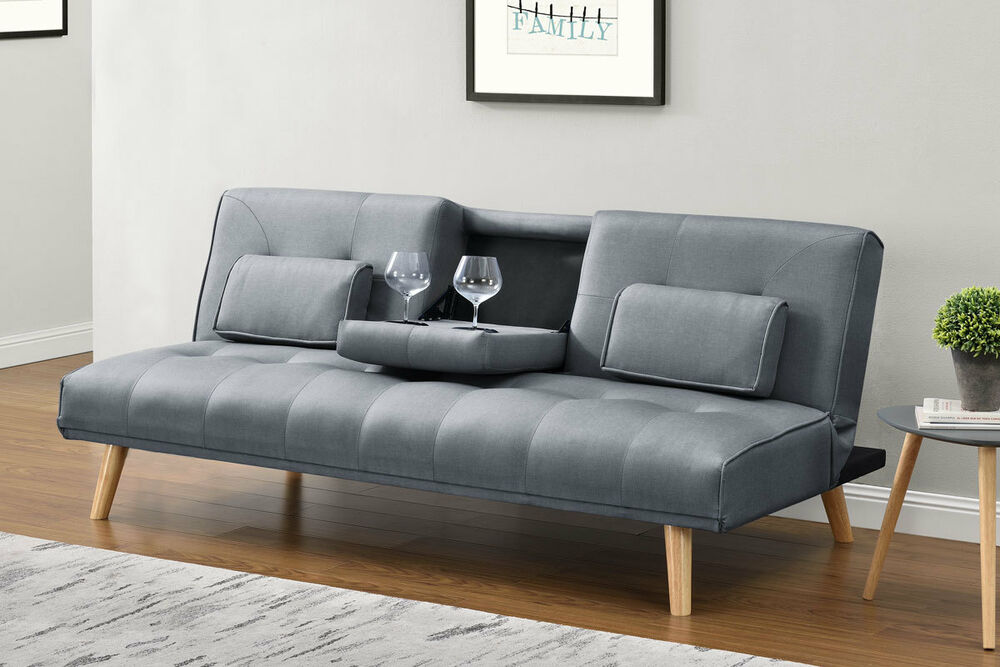 Modern Stylish Sofa Bed Grey Fabric Small 2 Seater Fold