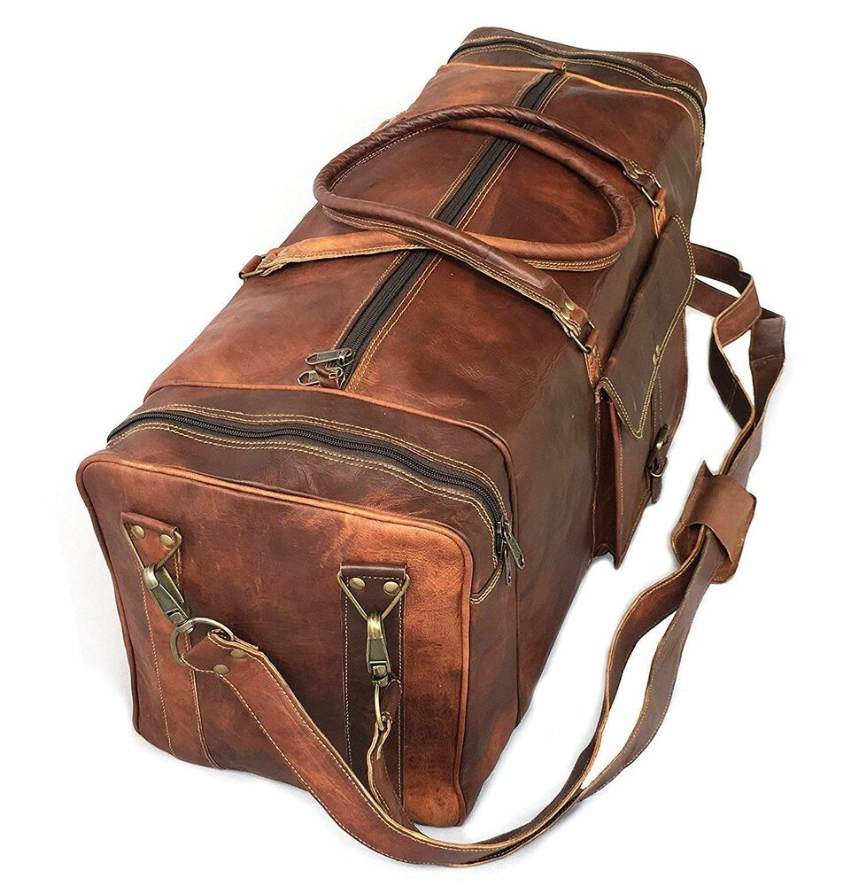 67e8db171e9 Details about Sports Gym Bag weekend Real Brown Leather Duffle Bag Travel  AirCabin Luggage 30
