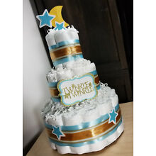 3 Tier Diaper Cake - Twinkle Twinkle Blue and Gold with Moon and Stars