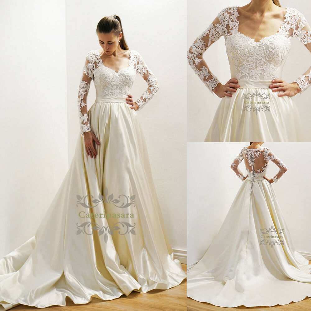 Wedding Gowns Ebay: Satin Wedding Dress With Pockets Amazing Lace Back Long
