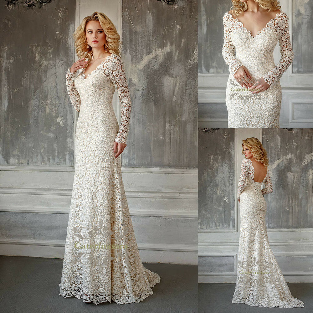 Mermaid Lace Wedding Gown: Magic French Lace Wedding Dress Illusion V Mermaid/Trumpet