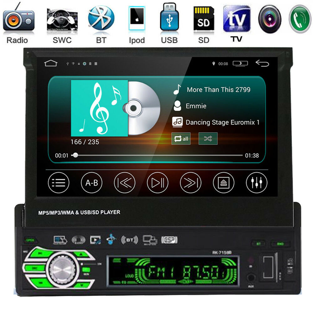 autoradio hd 7 cran tactile 1din car stereo bluetooth mp3 radio fm aux usb sd ebay. Black Bedroom Furniture Sets. Home Design Ideas