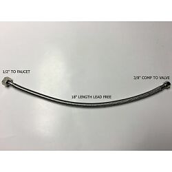 2) 3/8'' COMP x 1/2'' FNPT 18 LONG FAUCET SUPPLY HOSE LINE BRAIDED STAINLESS STEEL
