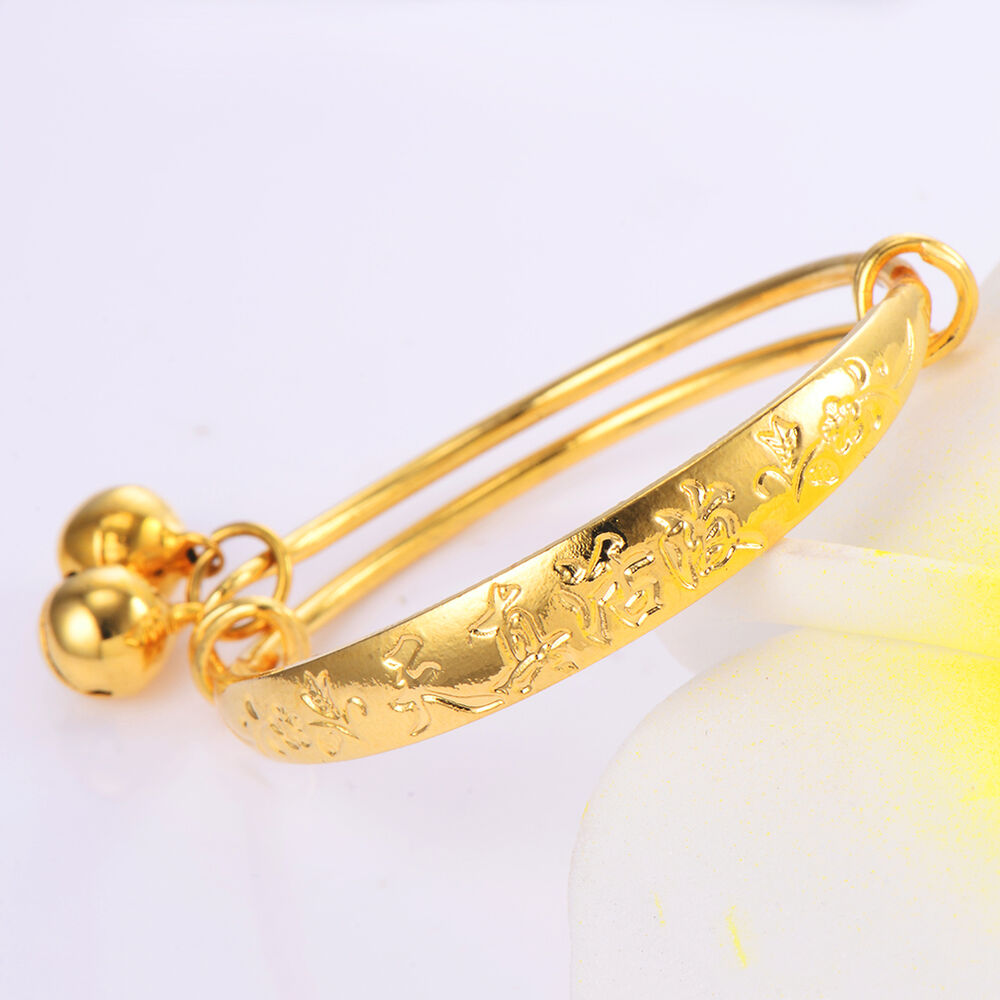a1eff2ebf Details about Baby children cute Bell bracelet toddler jewelry gold filled  bangle Adjustable .