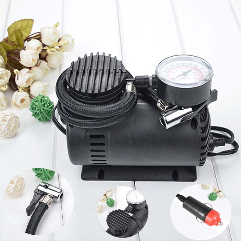 portable auto air compressor elektrische reifen inflator pumpe 12 volt 12v pop ebay. Black Bedroom Furniture Sets. Home Design Ideas