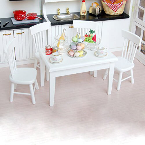 Kitchen 5pcs Set Barbie Chair Wooden 1 12 Table Dining Dollhouse
