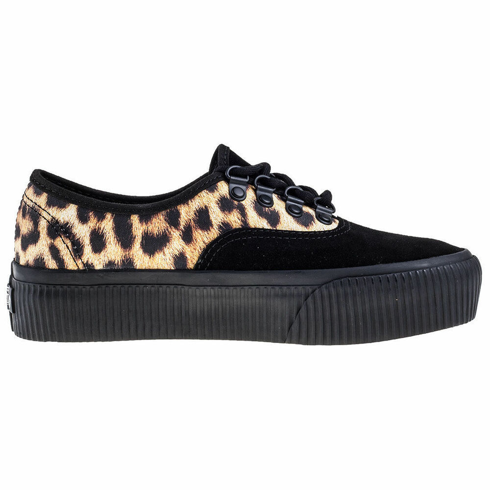 55221b014093b2 Details about Vans Leopard Black Suede Platform Shoes Trainers Embossed Authentic  Women