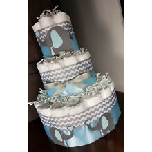 3 Tier Diaper Cake -  Blue Elephants with Blue and Silver Chevron with Hearts