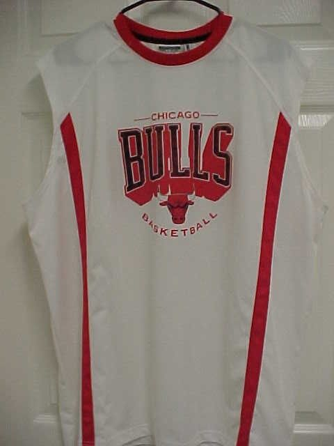 7e7d069d2 CHICAGO BULLS Basketball Men White Red Trims Jersey Shirt XXL Zipway Tech  NBA