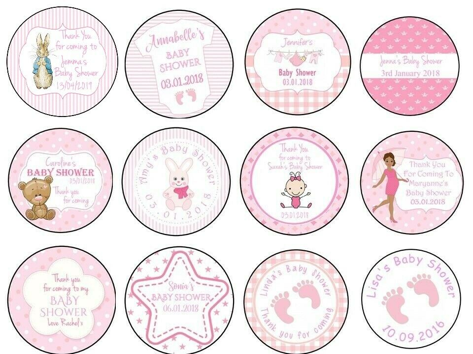 Personalised Gloss Baby Shower Stickers Label For Party Bag Thank