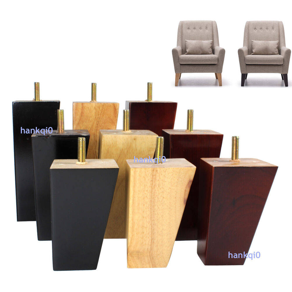 4x Wood Furniture Legs Square Feet For Ikea Couch Cabinet