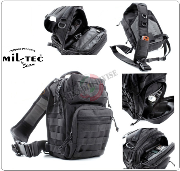 Zaino Monospalla Porta Pistola ASSAULT Small Backpack Over One Shoulder MIL-TEC