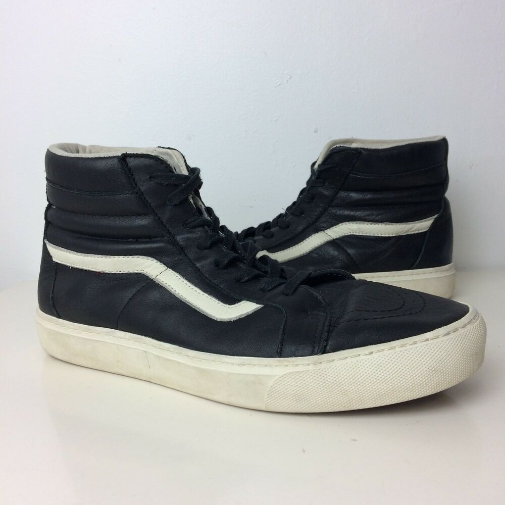 c96aeea8352f Details about VANS Men s Black Leather Sk8 High Top Trainers Sneaker Size  11.5