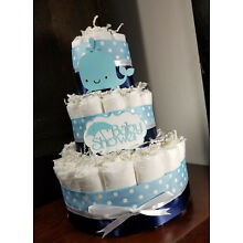 3 Tier Diaper Cake - Navy Blue and White Whale Theme Baby Shower Diaper Cake