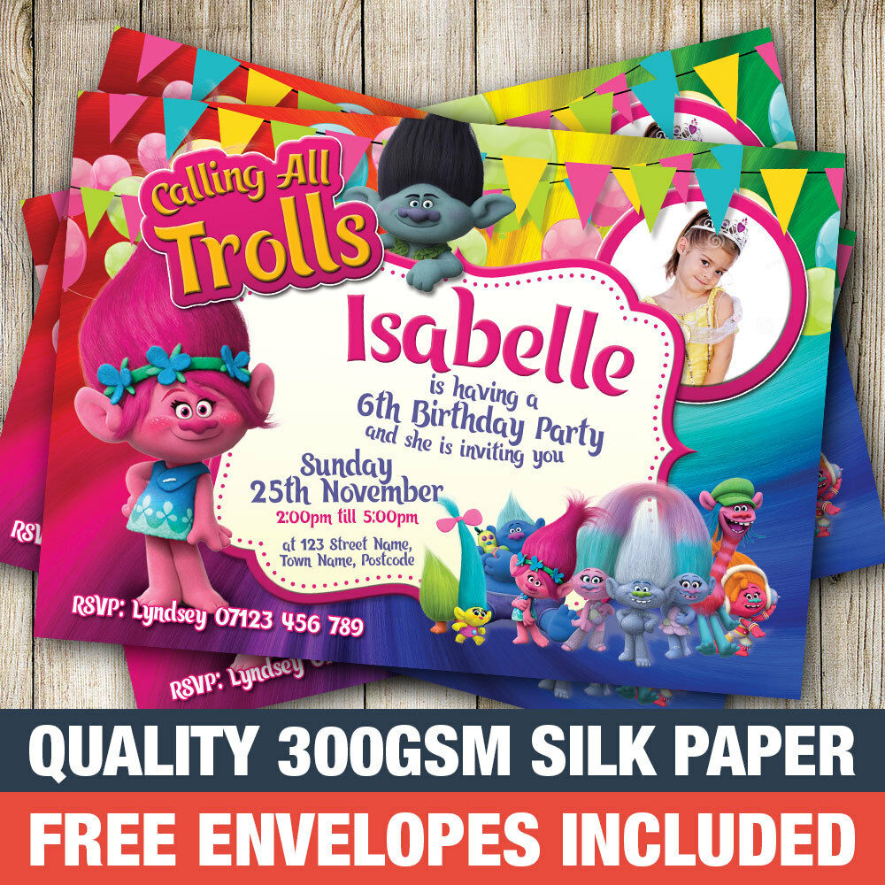 Details About Personalised Trolls Birthday Party Invitations