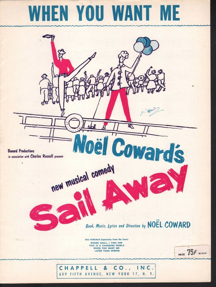 When You Want Me 1961 Sail Away Noel Coward Sheet Music | eBay