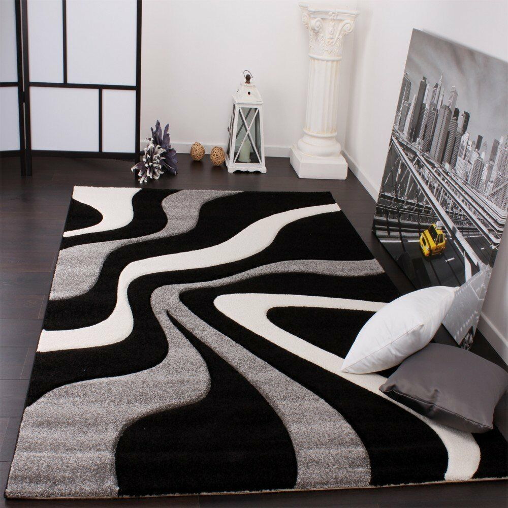 Modern Rugs Grey Black and White Abstract Living Room Rug ...