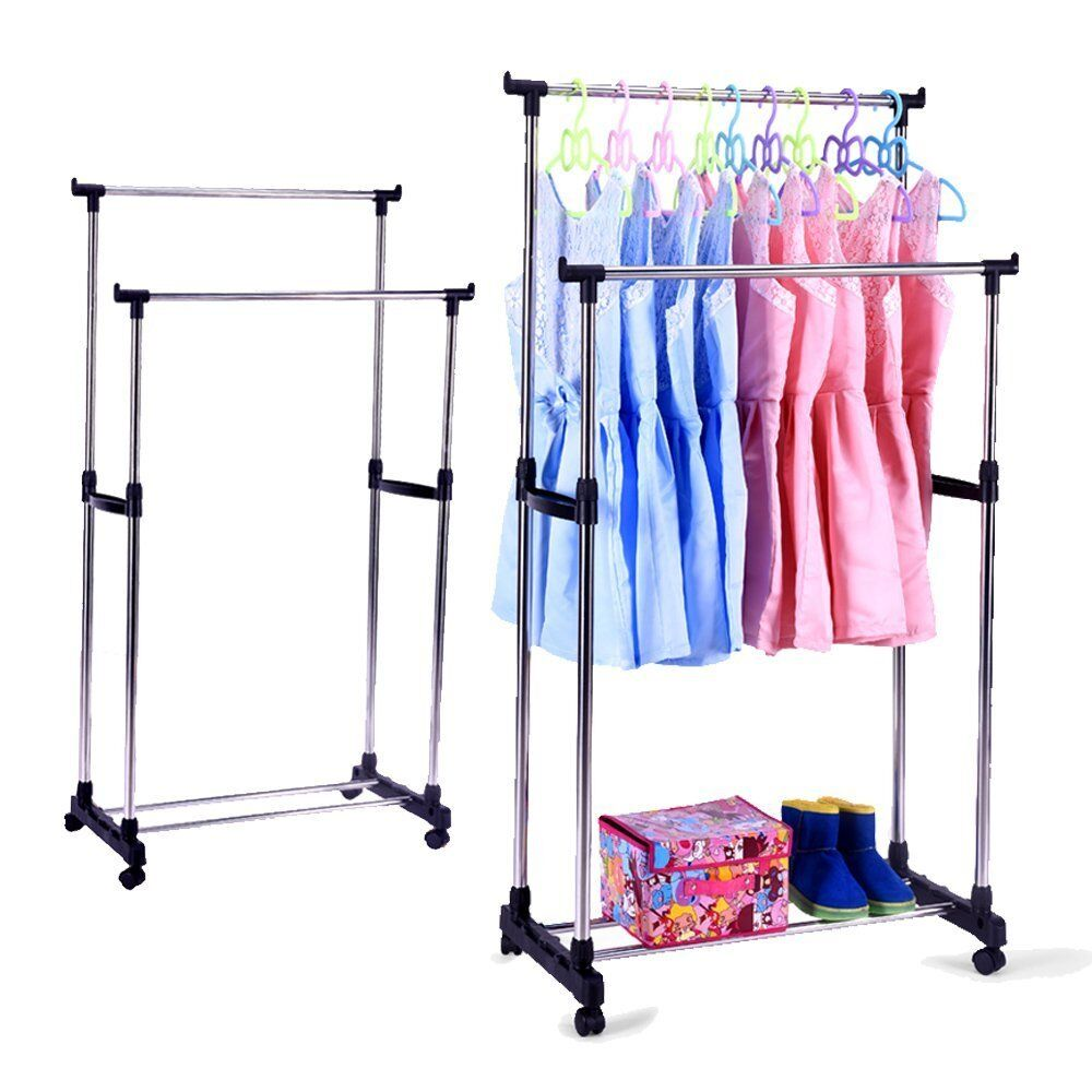 Portable Double Rods Rolling Clothes Rack Adjustable Garment With Wheels