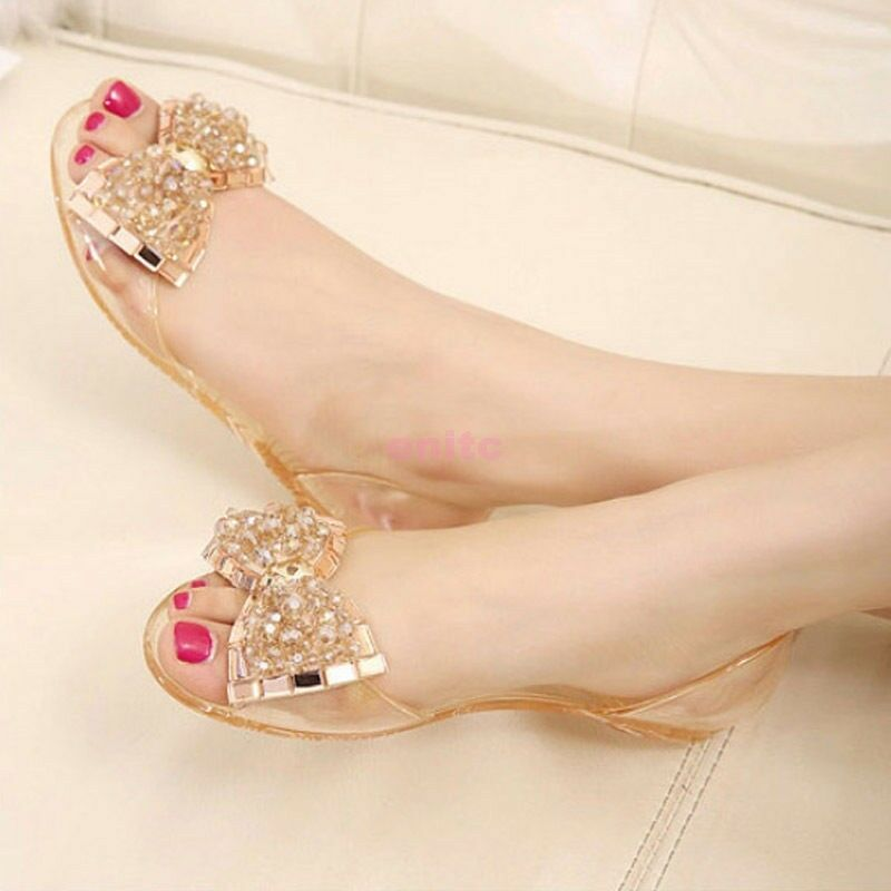 9821d8bb086f0f Details about New Lady Womens Summer Open Toe Bow Rhinestone Jelly Clear  Sandals Slipper Shoes