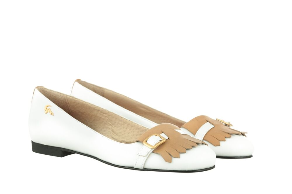 MORI MADE ITALY FLATS SCHUHE SHOES BALLERINA KROCO SUEDE LEATHER WHITE BIANCO 41