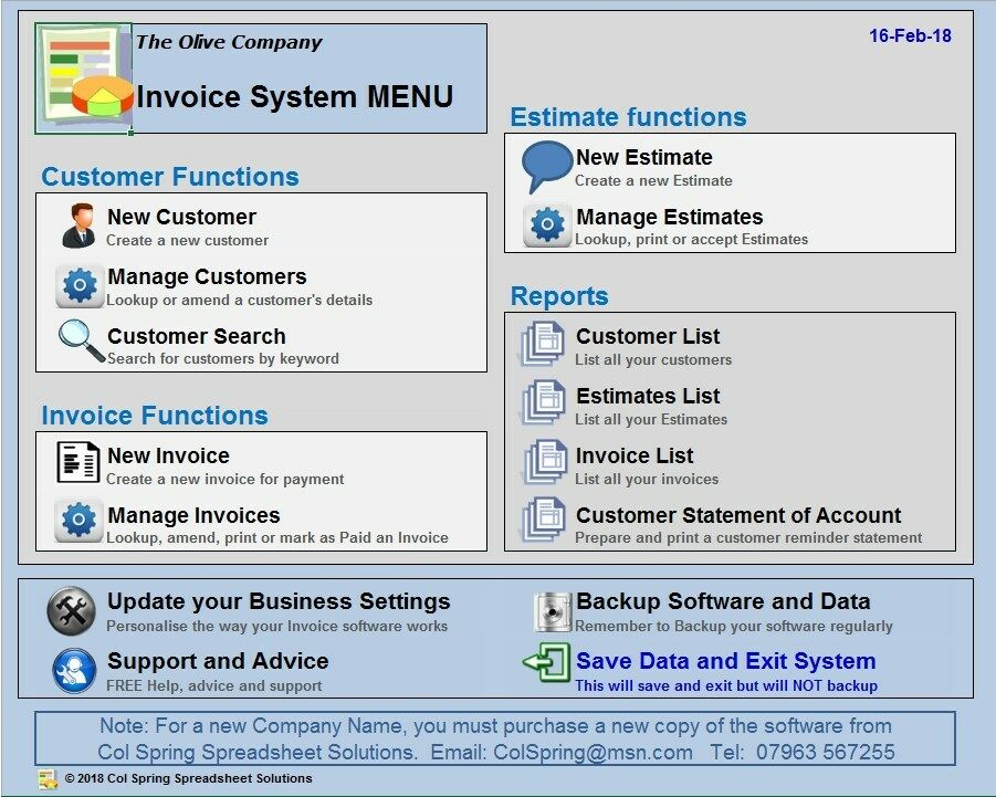 Invoice Software Intuitive And Fully Menudriven Runs In Excel - Invoice reminder software
