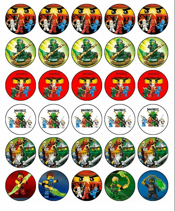 Details About 30 LEGO NINJAGO Cupcake Topper Edible Wafer Paper Birthday Cake Decoration 1