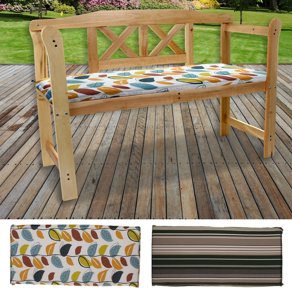2 Amp 3 Seater Bench Cushions Outdoor Garden Seat Pad Patio