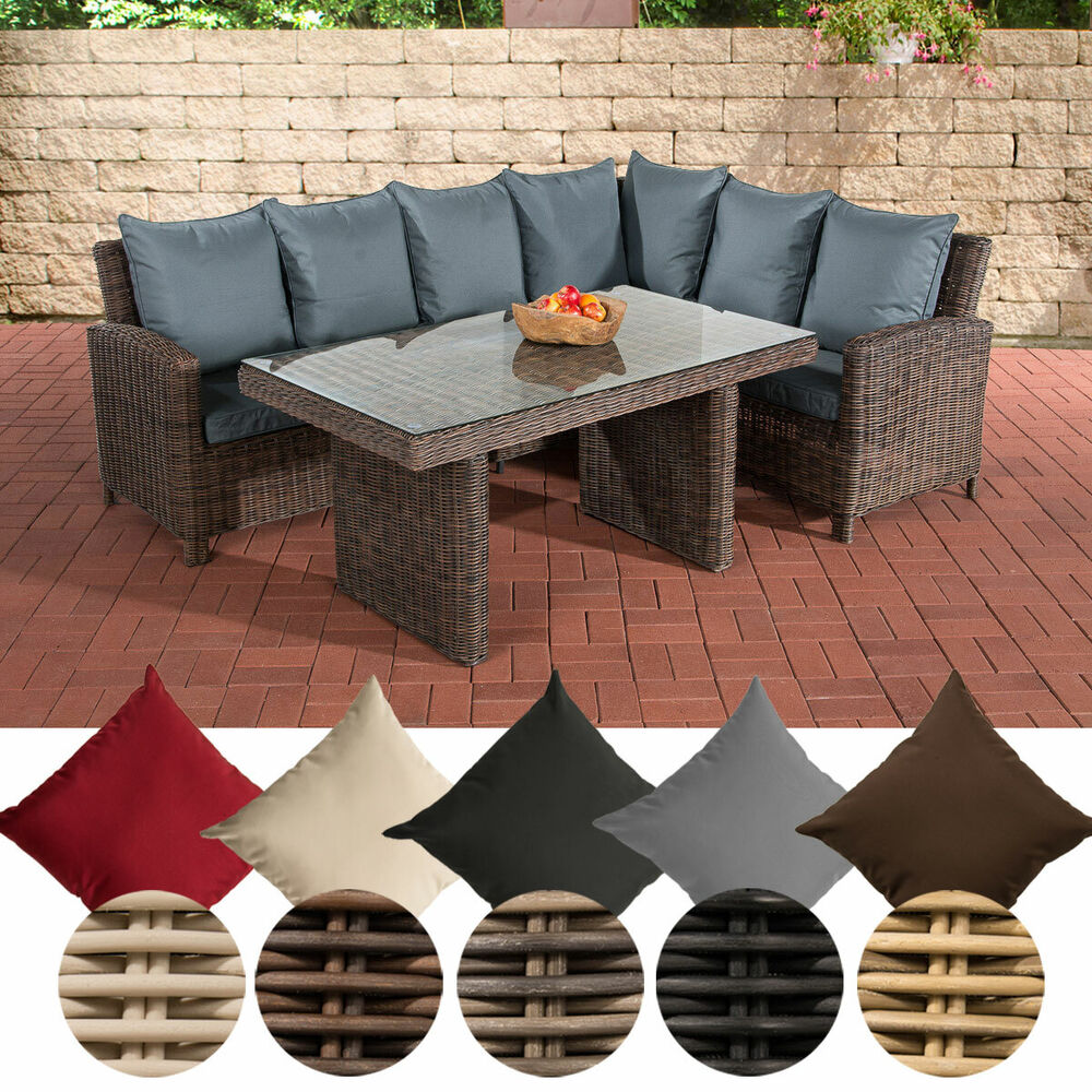 polyrattan garten essgruppe esstisch sitzgruppe minari braun 5mm rund rattan ebay. Black Bedroom Furniture Sets. Home Design Ideas