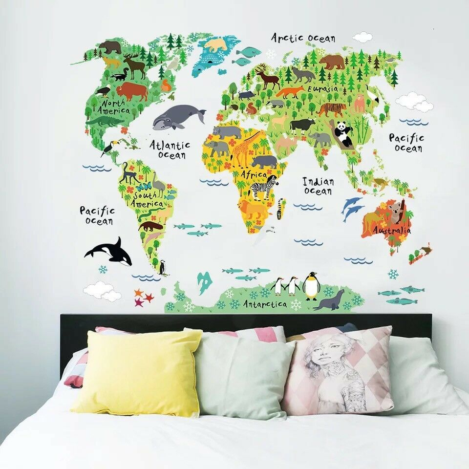 High Quality Details About Animals World Map Kids Room Wall Decal 3D Reusable Large  Stickers