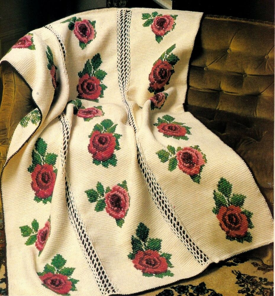 Beautiful Victorian Rose Afghancrochet Pattern Instructions Only Ebay