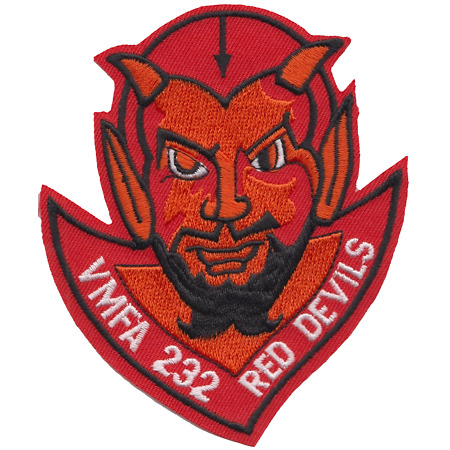 img-Marine Fighter Attack Squadron 232 VMFA-232 USMC Shaped Embroidered Patch