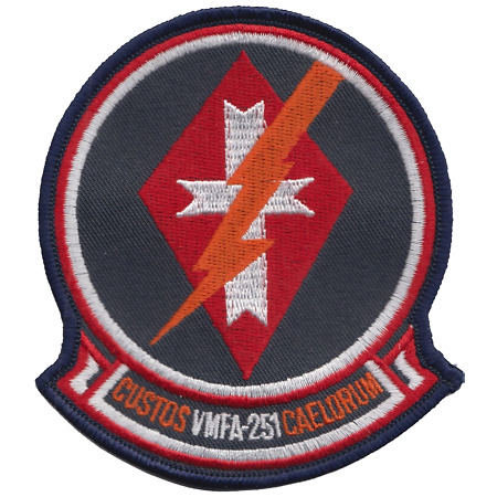 img-Marine Fighter Attack Squadron 251 VMFA-251 USMC Shaped Embroidered Patch