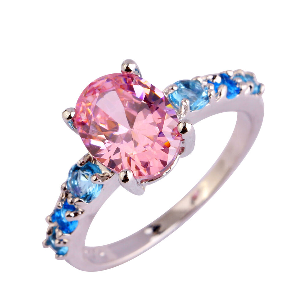 Oval Pink Blue Gems Fashion Jewelry Women\'s Silver Ring Size 6 7 8 9 ...