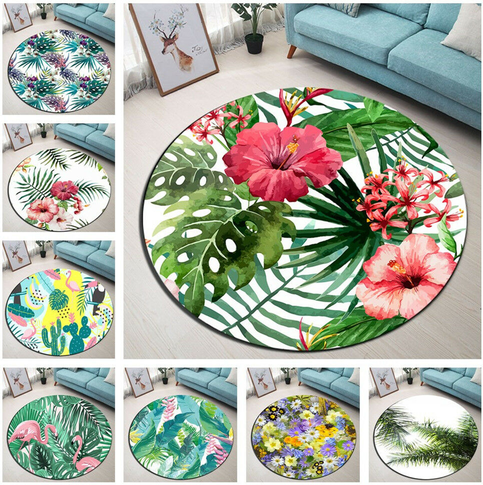 Tropical Palm Leaves Floral Cactus Round Floor Mat Living