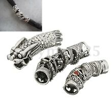 3x Dragon Beads Dreadlock Bead Hair Accessory Kits Antique Silver Rings Jewelry