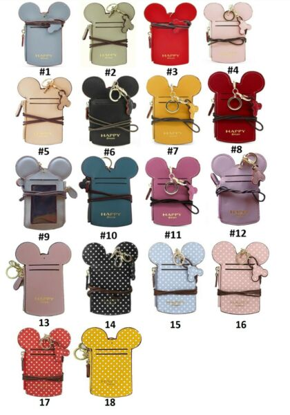 16 Colors MICKEY MOUSE SHAPE NAME ID CARD BADGE HOLDER WALLET PURSE NECK LANYARD