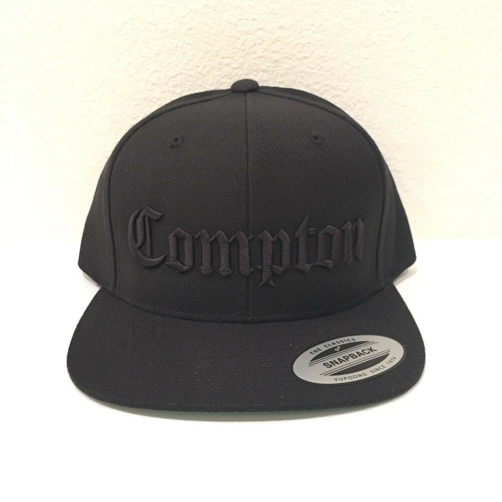 cea1dcb0c5cbd Details about Compton Snapback Hat 3D Embroidery Cap Yupoong N.W.A Eazy E  Adjustable All Black