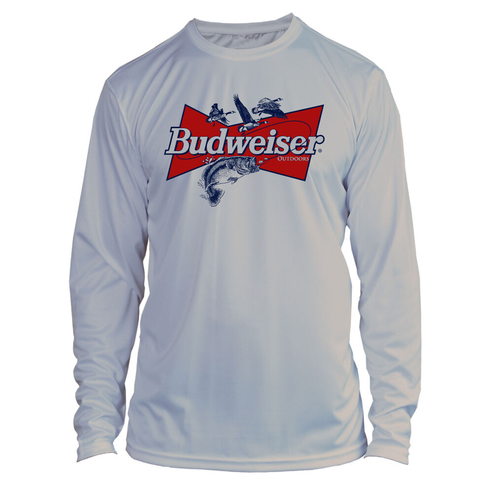 a99b9a238 Budweiser Bass Fishing Long Sleeve Microfiber Performance UPF 50 TShirt -  Gray | eBay