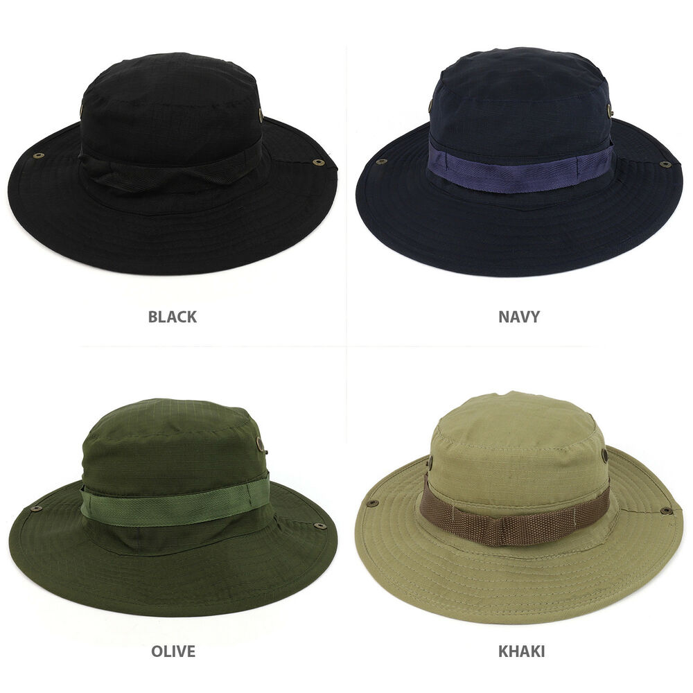 fe35683c597 Details about Military Solid Plain Outdoor boonie Hat With Adjustable Chin  Strap - FREE SHIP